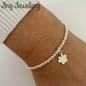 Sterling Silver Beaded Stretch Stacking Bracelet Dog Paw Charm. Dog Lovers Gift