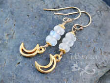 Gold crescent moon & faceted moonstone gem earrings - 14k gold filled earwires