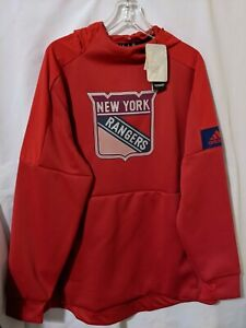 NWT Adidas New York Rangers Mens Red Game Mode Pullover Hoodie Sz XL EJ7476
