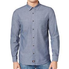 Dickies Men's Slim Fit Chambray Button Down Shirt, Blue, XL