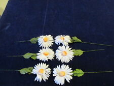 "Vtg Shabby Millinery Flower Collection White 4"" Daisy w/Yellow Pom Center H2361"