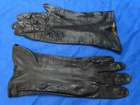 GLOVERS GUILD Vintage BLACK WASHABLE LEATHER GLOVES Embroidered Trim SZ 7