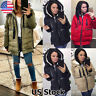 Women Quilted Padded Puffer Coat Winter Warm Thick Down Hooded Jacket Parka Coat