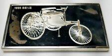 1974 STERLING SILVER FRANKLIN MINT CENTENNIAL CAR INGOT-1885 BENZ-1.92 oz