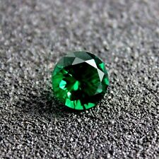 100 P. AAA Synthetic Emerald Green Nano 1.10 m Round Cut Faceted Loose Gemstone
