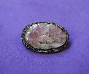 Old CHINESE Export Art Nouveau Flower Carved ROSE QUARTZ Brooch Pin Silver