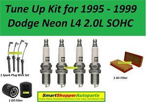 Tune Up Kit 1995-1999 Dodge Neon SOHC Spark Plug, Wire Set, Air Filter, Oil Filt
