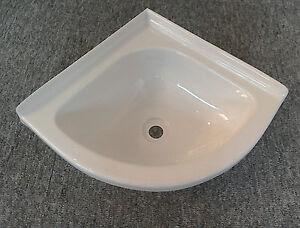 Caravan Motorhome Boat Bathroom White Plastic Corner Vanity Sink Bowl SN9