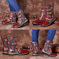 Women's Retro Floral Biker Ankle Boots Faux Leather Zipper Buckle Combat Shoes