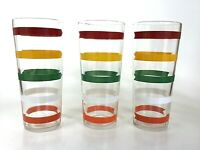 Set of 3 Vintage 50's Drinking Glassware Red Yellow White Green Orange Striped
