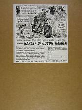 1962 Harley-Davidson Ranger motorcycle trail bike art vintage print Ad