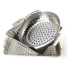 3 Piece Stainless Steel Set BBQ Grill Basket Accessory Grilling Vegetable Father