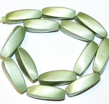 """W320f Green Metallic 30mm 4-Sided Twisted Oval Wood Beads 15"""""""