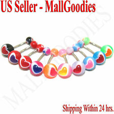 W051 Acrylic Belly Naval Rings Bars Barbell Hearts Shape Design Lot of 10 Colors