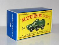 Matchbox Lesney No 54  SARACEN PERSONNEL CARRIER empty Repro D style Box