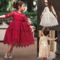 Kids Girls Vintage Lace Dress Infant Baby Wedding Party Formal Fancy Dresses