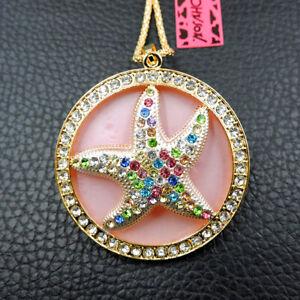 Betsey Johnson Multi-Color Rhinestone Starfish Crystal Pendant Chain Necklace