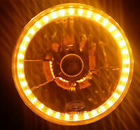 "Amber 7"" Round LED Halo Ring H4 Headlights Angel Eye DRL Land Rover Defender 110"