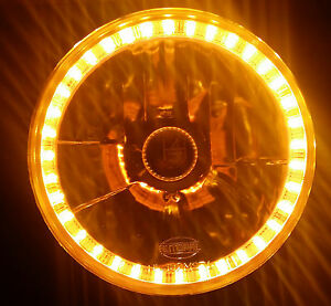 Amber 7 Round LED Halo Ring H4 Headlights Angel Eye DRL for Nissan Patrol G60 MQ