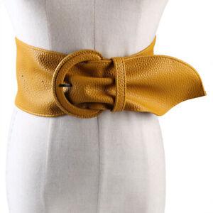 Luxury Lady Wide Belt Vintage Buckle Leather Wide Circle Buckle Women Waist Belt