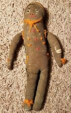 "Vintage handmade cloth sock doll black African American 10 1/2"""