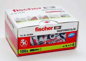 Fischer DUOPOWER Wall Plugs Pack of 100, 6mm x 30mm