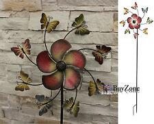 Metal Garden Windmill Butterfly Flower Mobile Ornament Decoration Wind Spinner