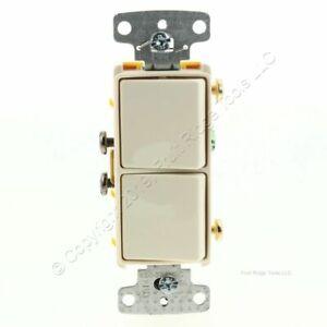 Hubbell Lt Almond Decorator Duplex Switch Double Rocker 15A Single Pole RCD101LA