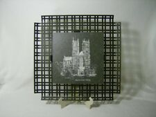 VINTAGE HAND PAINTED SLATE ~WESTMINSTER ABBEY~ WROUGHT IRON FRAMED WALL PLAQUE