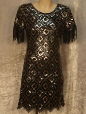 1960's Go Go Style Disco Party Dress of Diamond Pattern Silver, Gold & Black Seq
