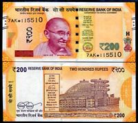 INDIA 200 RUPEES 2017 P NEW DENOMINATION & COLOR REPLACEMENT STAR UNC
