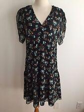 BCBG MAX AZRIA Dress Black w/Tan/Taupe & Celedon Floral Size M