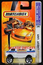 2006 Matchbox #39 4x4 Chevy® Van WHITE PEARL / MATCHBOX PILLBOX LOGO / MOC