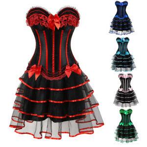 Burlesque Corset Skirt Basque Cincher Bustier Tutu Fancy Dress Costume 6-24 Sexy