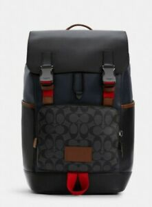 Coach C4139 Track Backpack In Colorblock Signature Canvas MEN NWT