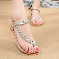 1' Women Ladies Crystal Beach Wedding Shoes Flats Dress Sandals Size 5 – 9