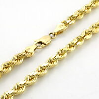 """REAL 10k Yellow Gold Italian 4mm Mens Womens Diamond Cut Rope Chain Necklace 24"""""""