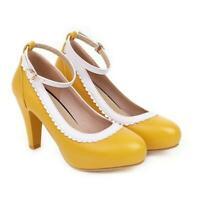 Mary Janes Ladies Womens Round Toe Block High Heels Pumps Buckle Shoes Office OL