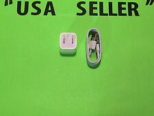 1X Genuine APPLE A1385 Charger Adapter Cube 1X Lightning OEM APPLE USB Cable