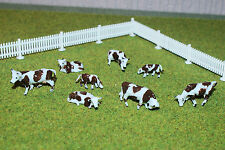 00 gauge 1:87 Scale Hand Painted Brown & White cows (8) Model Rail