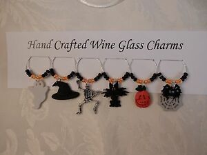 """""""HALLOWEEN"""" SET OF 6  HAND CRAFTED WINE GLASS CHARMS"""