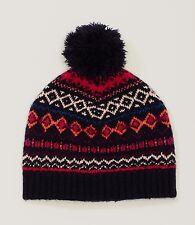 NWT Ann Taylor LOFT Black Red Pom Pom women's Beanie Hat One size