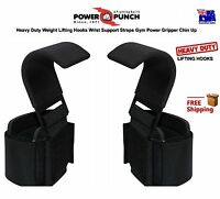 Heavy Duty Weight Lifting Hooks Wrist Support Straps Gym Power Gripper Chin Up