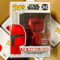 Funko Pop Star Wars Special Edition : Red Chrome The Mandalorian #345 Vinyl MINT