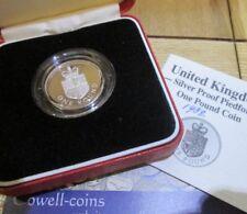 1988 Royal Mint Silver Proof PIEDFORT £1 One Pound Coin Royal Shield  BOX/COA Cc