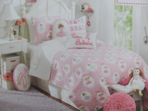 Authentic Kids- Pink Prima Ballerina -3 Piece FULL/QUEEN Quilt Set-2 Shams- New
