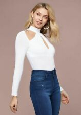 Bebe Blouse Top Peyton Mock Neck Cutouts Long Sleeve Sleek White Jersey M-L NWT