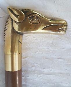 """Rare canne de """"contrebandiers"""" pommeau en bronze représentant une tête de cheval"""