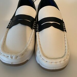 Children Boys Mario Lopez Slip On Loafers Shoe White/Blue  Boat Shoes Size 3 New