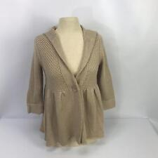 Kenji Size Medium Tan Knit Cotton Hooded One Button Sweater Baby Doll